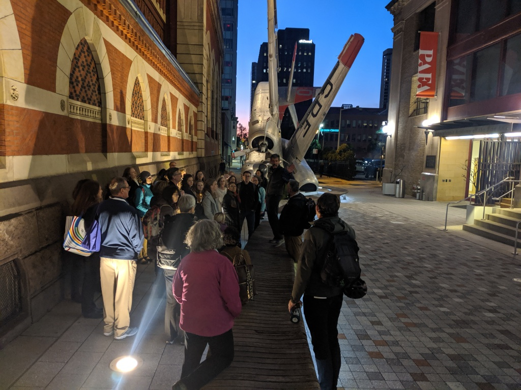 Group of people conducting a walk audit in Center City Philadelphia
